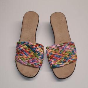 Italian Shoemakers Colorful Woven Wedge 6.5